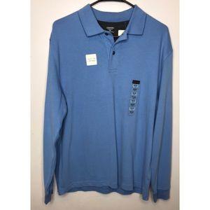 St Johns Bay Blue Long Sleeve Polo Shirt Sz M NWT